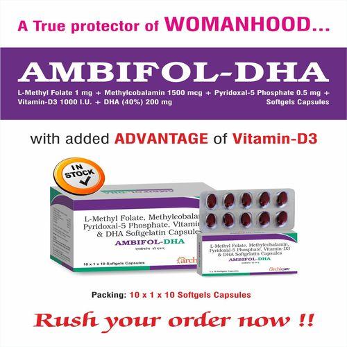 DHA 40%w/w  + Pyridoxal-5 Phosphate 500mcg   L-Methylfolate 800mcg + Methylcobalamin 1500mcg
