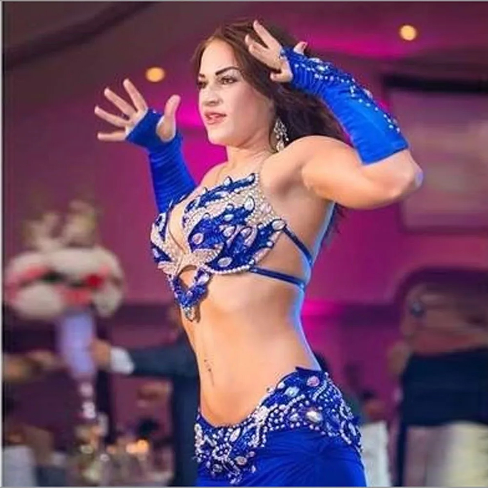 Belly Dance Blue Choli Belt Costume