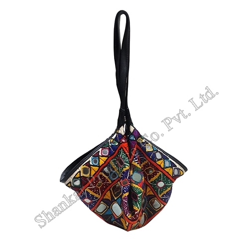 Mirror Work Cotton Potli Bag with Leather Trims