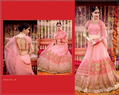 Delectable Pink Net Lehenga Choli