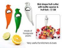 Bird shape fruit cutter with opener and fruit fork