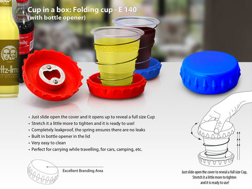 Cup in a box: Folding cup (with bottle opener)