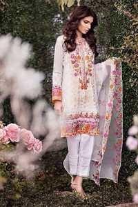 Printed White Satoon Material Suit