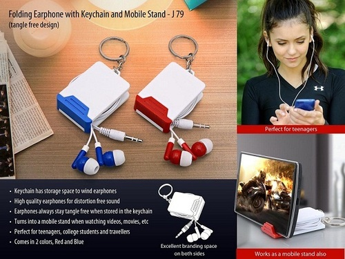 Folding Earphone with Keychain & Mobile Stand