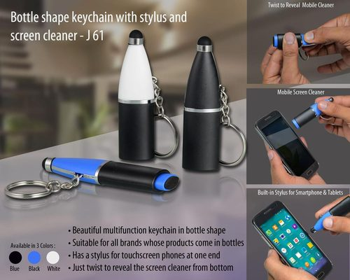 Bottle Shape Keychain with Stylus and Screen Clean