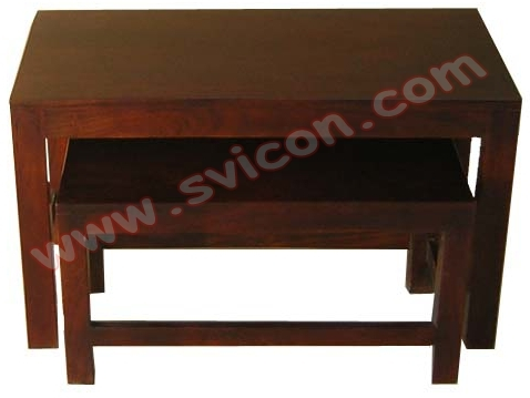 WOODEN NEST OF TABLES S/2