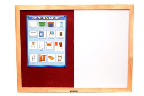 Wooden Framed Combination Board (White & Pin Board)  2 x 1 feet