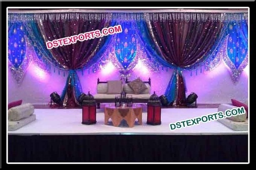 Indian Wedding Embrodried Backdrop Stage