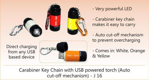 Carabiner Keychain with USB Power Torch