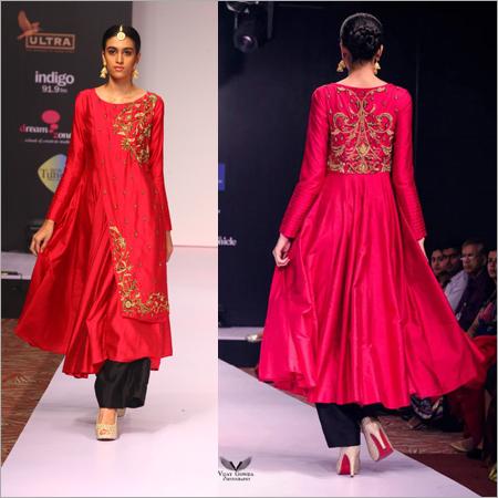 Black And Maroon Anarkali Dress