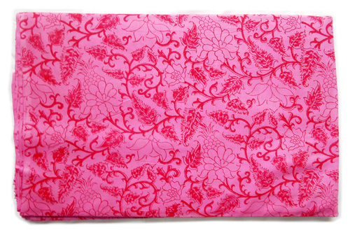 Pink Drawing Flowers On Cotton Fabric Print