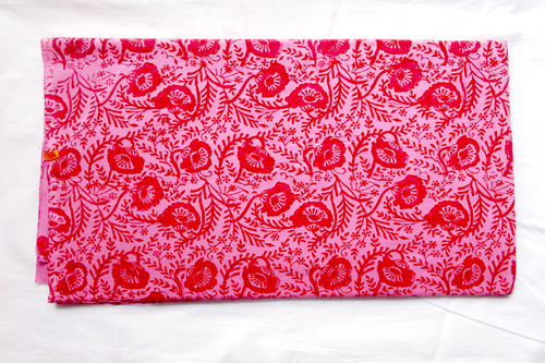 Pink Flowery Fabric Cotton Print
