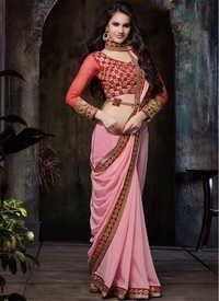 e09ec6f07e69b Impeccable Resham Work Faux Chiffon Designer Saree in Mumbai