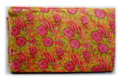 Green Orange Flowery Cotton Fabric