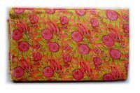 Green Orange Flowery Cotton Fabric