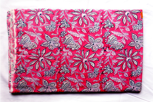 Dark Pink Mughal Flowery Cotton Fabric