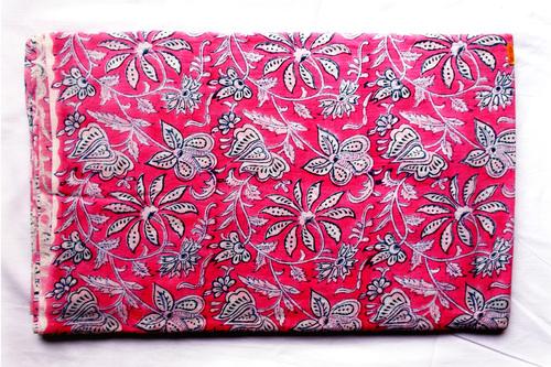 Dark Pink Mughal Flowery Cotton Fabric