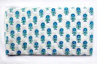 Blue Green Flower Cotton Fabric