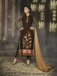 Designer Brown Straight Suit