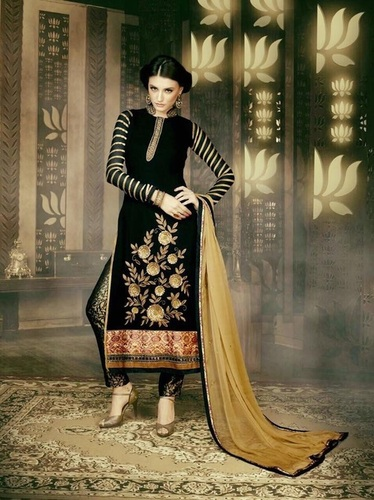Designer Dark Green Straight Suit