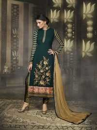 Designer Long Green Straight Suit