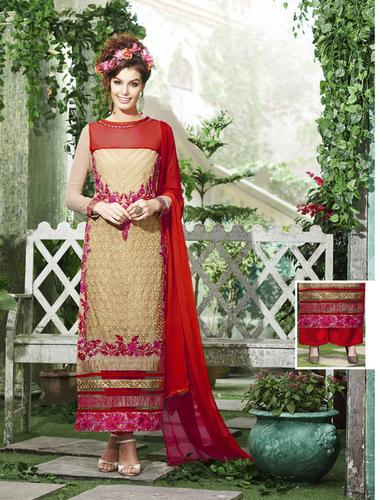 Designer Cream & Red Straight Suit