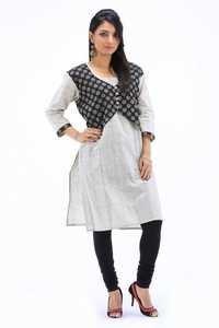 Sushil Grey Khadi Print Designer Kurti With Black