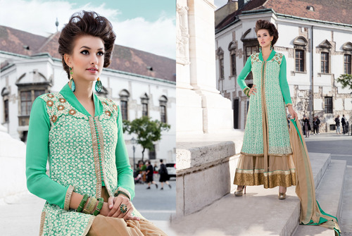 Aqua And Cream Designer Plazoo Suit