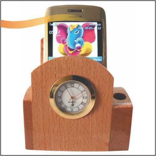 Wooden Mobile Stand with Clock