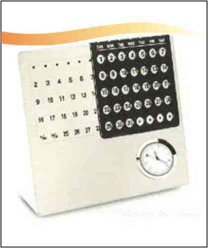 Stainless Steel Calander with Clock