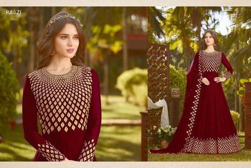 Latest Maroon Designer Anarkali Suit