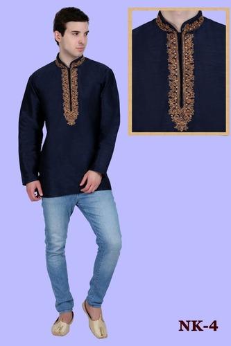 Mens Neck Embroidered Short kurta