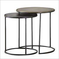 Metal Round 2 Piece Nesting Table Set