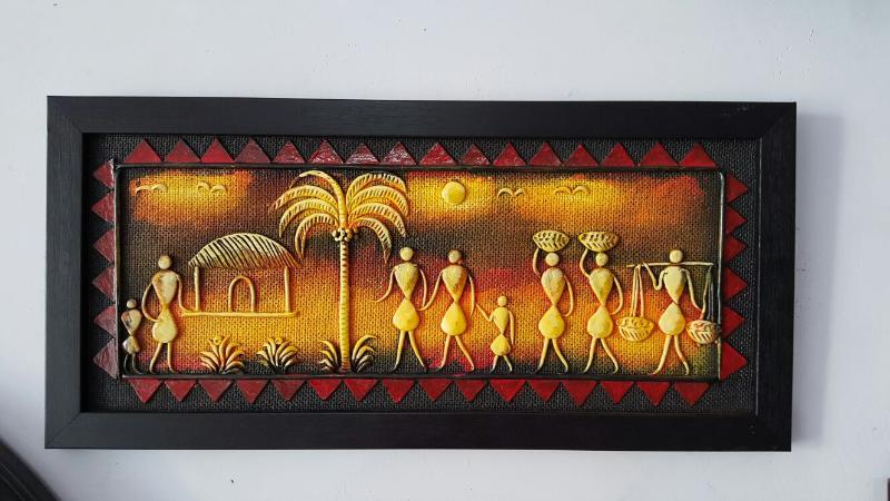 INDIAN VILLAGE HANDMADE PAINTING