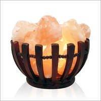 Wooden Basket Salt Lamp