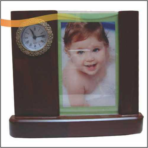 Wooden Photo Frame with Clock