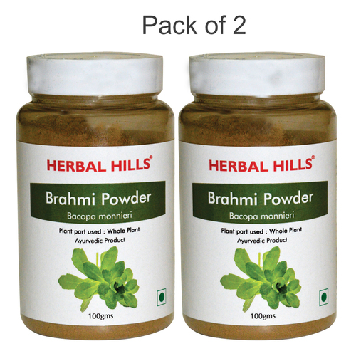 Ayurvedic Brahmi Powder 100gm for Healthy Hair & Memory Booster (Pack of 2)