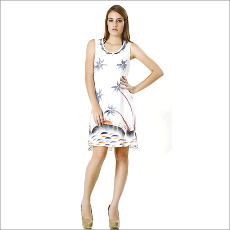 Flower Design White Beach Dress