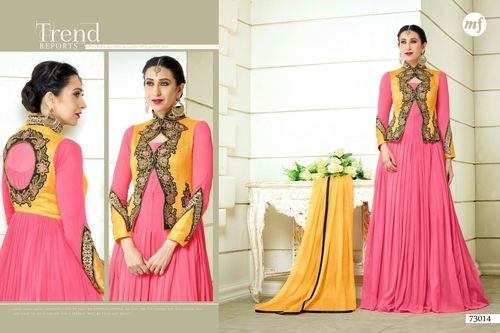 Long Fancy Anarkali Semi Stitched Dresses