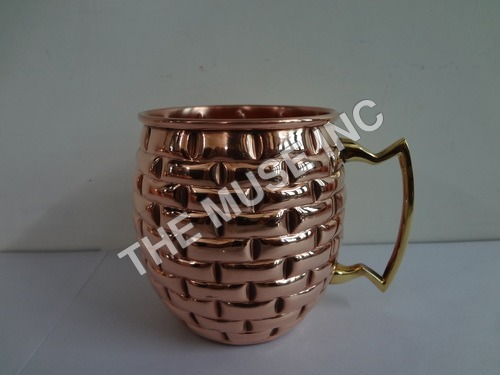 Embossed Solid Copper Moscow Mule Mug.