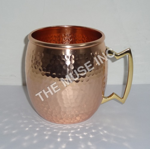 Hammered Copper Mug Brass Handle