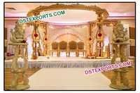 Hand Carved Wood Mandap Set