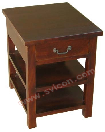 WOODEN BEDSIDE 1 DRAWER WITH 2 SHELF