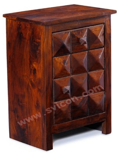 WOODEN BEDSIDE 1 DRAWER 1 DOOR DIAMOND DESIGN