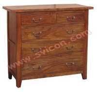 WOODEN 5 DRAWER CHEST (3+2)