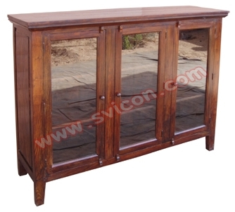 WOODEN 3 GLASS DOOR SIDE BOARD