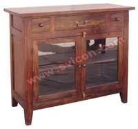 WOODEN 2 GLASS DOOR 3 DRAWER SIDE BOARD