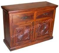 WOODEN SIDE BOARD 2 DRAWER 2 CARVING DOOR