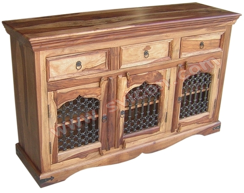 WOODEN SIDE BOARD 3 DRAWER 3 IRON CAPSULE JALI DOO