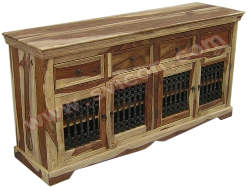 WOODEN SIDE BOARD 4 DRAWER 4 IRON CAPSULE JALI DOO